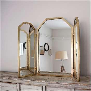 Odette Antiqued Gold Dressing Table Mirror (H58 x W83 x D2cm)