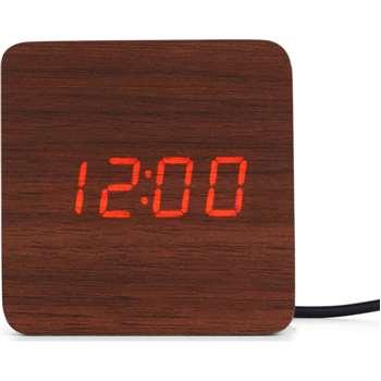 Odette Square Alarm Clock, Walnut (H8 x W8 x D4cm)