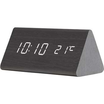 Odette Triangle Digital Alarm Clock, Black (15 x 7.5cm)