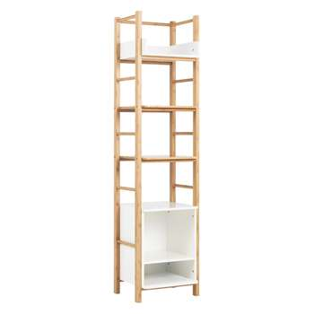 Odin Bamboo 6 tier bathroom storage unit - White 165 x 41cm