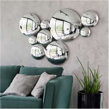 ODYSSEE Composition of 9 Silver Convex Mirrors (H86 x W125.5 x D4cm)