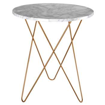 ODYSSEE Light-coloured marble and gold metal side table (57 x 50cm)