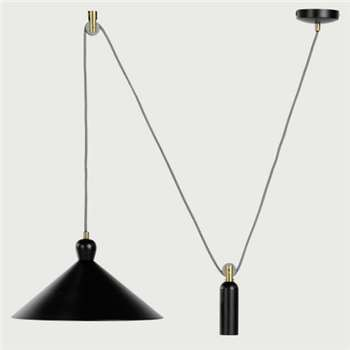 Ogilvy Rise and Fall Pendant, Matt Black and Antique Brass (18 x 35cm)