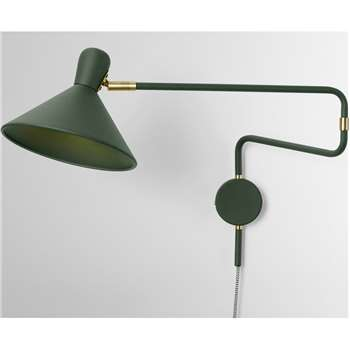 Ogilvy Swing Arm Wall Lamp, Green & Antique Brass (H27 x W22 x D73cm)