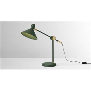 Ogilvy Table Lamp, Green & Antique Brass (H58 x W49 x D21cm)