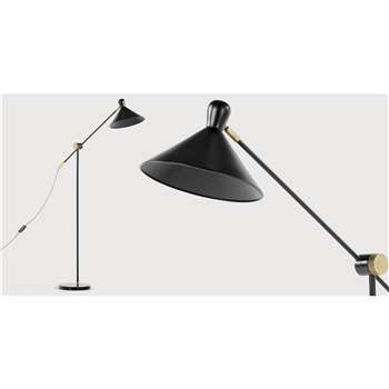 Ogilvy Task Floor Lamp, Matt Black and Antique Brass (183 x 42cm)