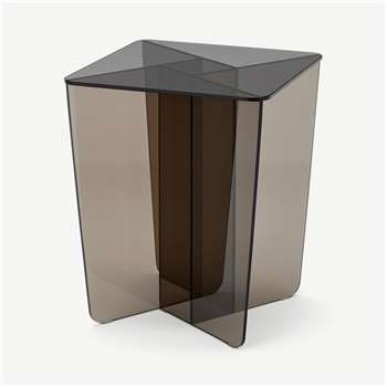 Oki Side Table, Smoked Grey & Amber Glass (H50 x W40 x D40cm)