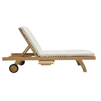OLÉRON Solid teak sunlounger on wheels (36 x 61cm)