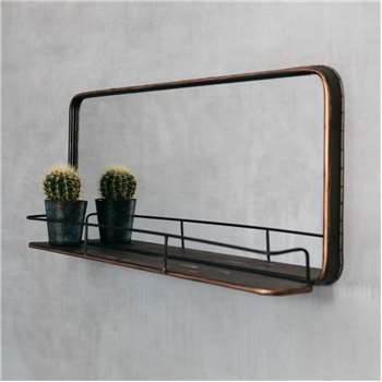 Ola Copper Mirror With Shelf (H40.5 x W90 x D12cm)