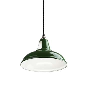 Old School Electric - British Spun-Steel Factory Pendant - Green (H17 x W28 x D28cm)