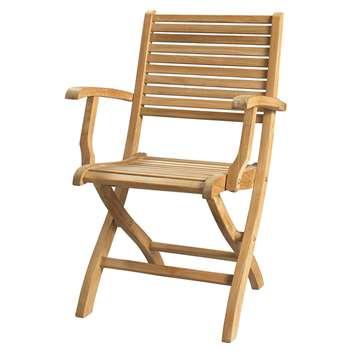 OLÉRON Solid teak folding garden armchair