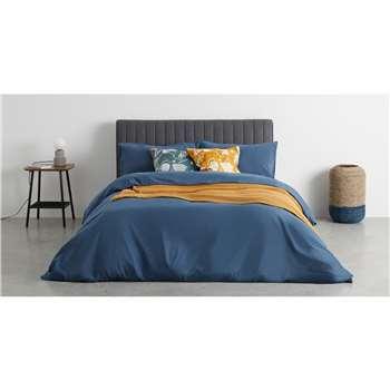 Olga 100% Cotton Pair of Printed Cushions, Blue & Mustard (H50 x W50cm)