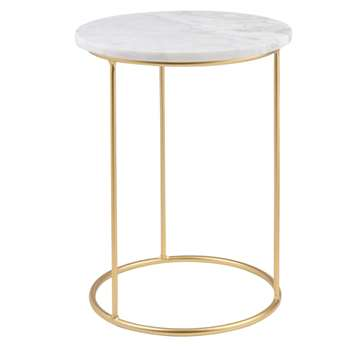 OLGA Marble and Matte Gold Metal Side Table (H40 x W30 x D30cm)