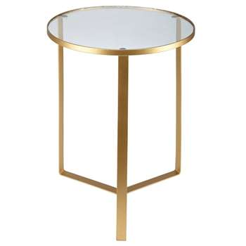 OLIVIA Glass and Gold Metal Side Table (H50.5 x W40 x D40cm)