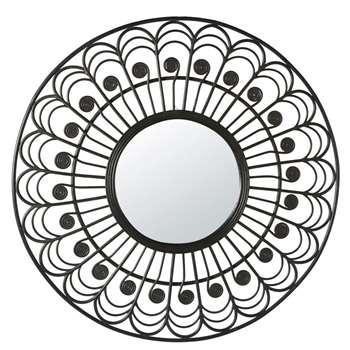 OLIVIA - Round Black Rattan Mirror (H100 x W100 x D3cm)