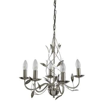 Olsen 5 Light Ceiling Light Satin Silver (H100 x W47 x D47cm)