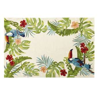 OMAGUA Ecru Outdoor Rug with Tropical Print (H160 x W230cm)