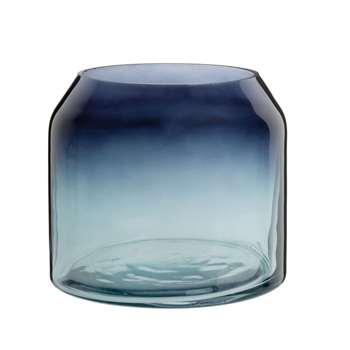 Ombre Blue Glass Vase (H13.5 x W15 x D15cm)