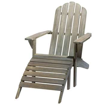 ONTARIO Greyed acacia wood steamer chair (92 x 72cm)