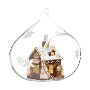 Open Glass Christmas Bauble with Christmas Village and White Stars (Width 10cm)