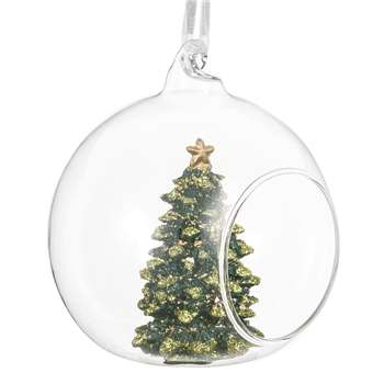 Open Glass Christmas Bauble with Green Glitter Christmas Tree (H8 x W8 x D8cm)