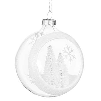 Open Glass Christmas Bauble with Snow-Coated Christmas Trees (H8 x W8 x D8cm)