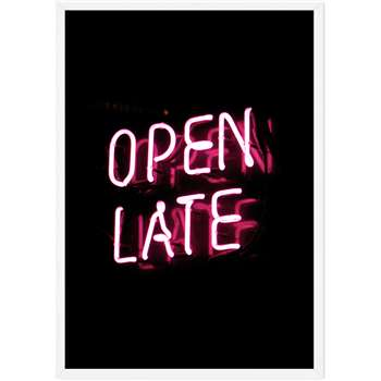 Open Late Neon Typography Framed Wall Art Print, Black & Pink (H86 x W61 x D2cm)