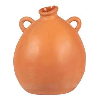 Orange terracotta handle vase (H17 x W14 x D14cm)