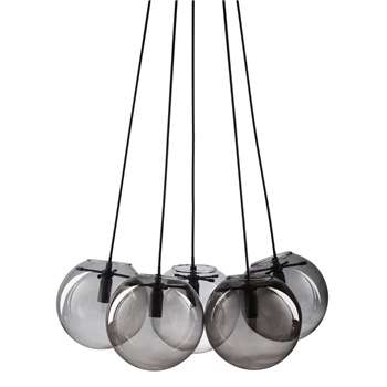 ORBE - Glass and Smoked Glass 5-Sphere Pendant (H126 x W59 x D38cm)