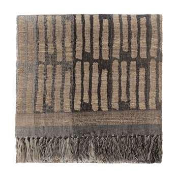 Orchha Wool Blanket, Grey, Black & Natural (145 x 150cm)