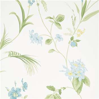 Orchid Apple Green Floral Wallpaper