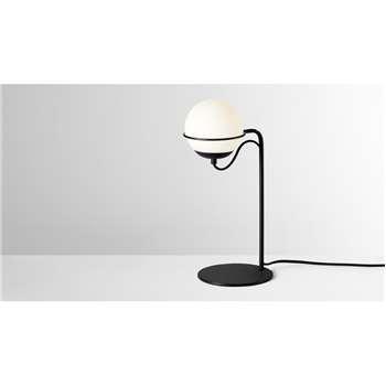 Oregon Table Lamp, Opal Glass & Black (H40 x W18 x D16cm)