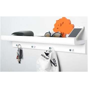 Organiser Shelf with 4 Hooks - White (10 x 60cm)