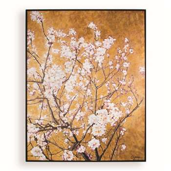 Art for the home - Orange Oriental Blossom Hand Painted Framed Canvas (H90 x W70 x D4.5cm)