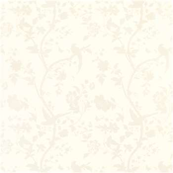 Oriental Garden White Floral Wallpaper