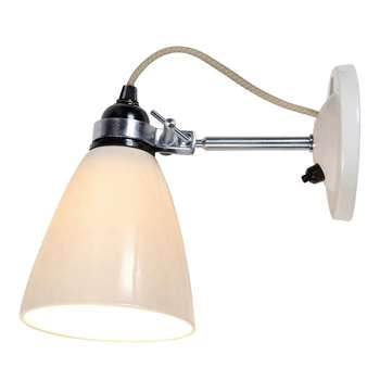 Original BTC Hector Dome Switched Wall Light, Medium, Natural White (H19 x W28 x D28cm)