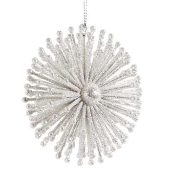 ORION - White Glitter Star Hanging Christmas Decoration (H9 x W9 x D4cm)