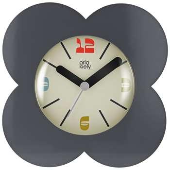 Orla Kiely Flower Petal Alarm Clock, Charcoal (H15 x W15 x D5.5cm)