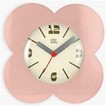 Orla Kiely Flower Petal Alarm Clock, Pink (H15 x W15 x D5.5cm)