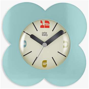 Orla Kiely Flower Petal Alarm Clock, Sky Blue (H15 x W15 x D5.5cm)