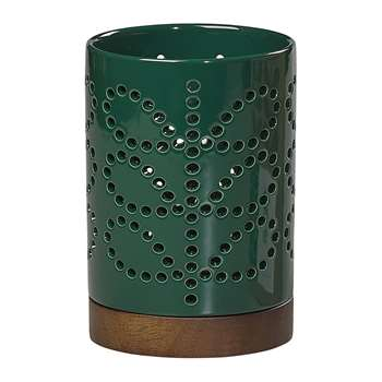 Orla Kiely - Linear Stem Ceramic Lantern - Small - Evergreen (H15.5 x W10 x D10cm)