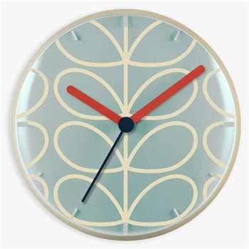 Orla Kiely Linear Stem Wall Clock, Pale Blue (H30 x W30 x D6.5cm)