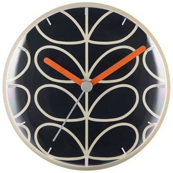 Orla Kiely Linear Stem Wall Clock, Slate (H30 x W30 x D6.5cm)