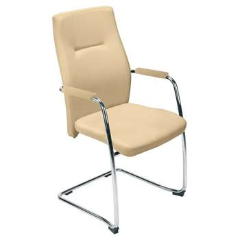 Orlando Leather Faced Visitor's Chair, Cream