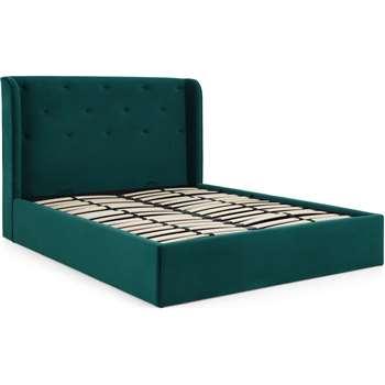Ormond King Size Ottoman Storage Bed, Seafoam Blue Velvet (H120 x W166 x D225cm)