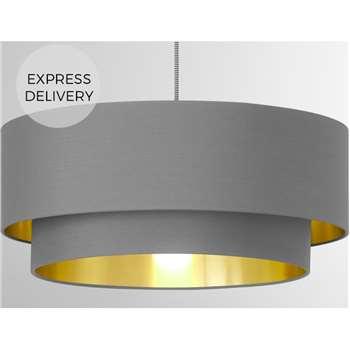 Oro Layered Pendant Shade, Grey & Brass (H20 x W45 x D45cm)
