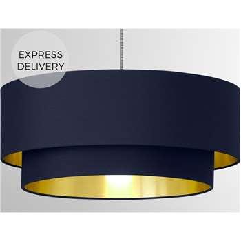 Oro Layered Pendant Shade, Navy & Brass (H20 x W45 x D45cm)