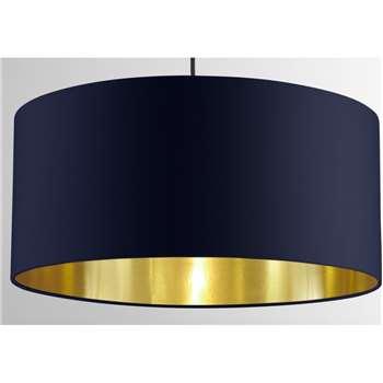 Oro Pendant Shade, Navy & Brass (H20 x W45 x D45cm)
