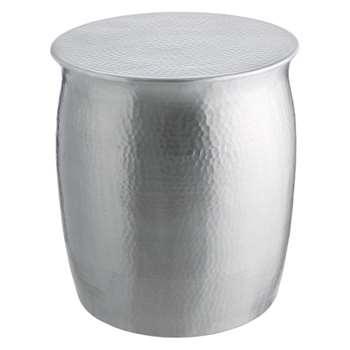 Orrico Hammered Aluminium Side Table, Silver (H45 x W40 x D40cm)