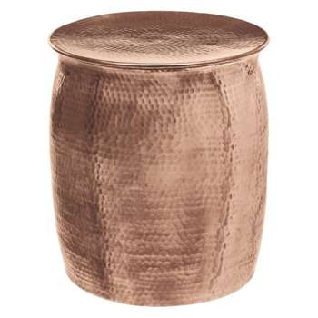 Orrico Rose gold hammered aluminium side table (45 x 40cm)